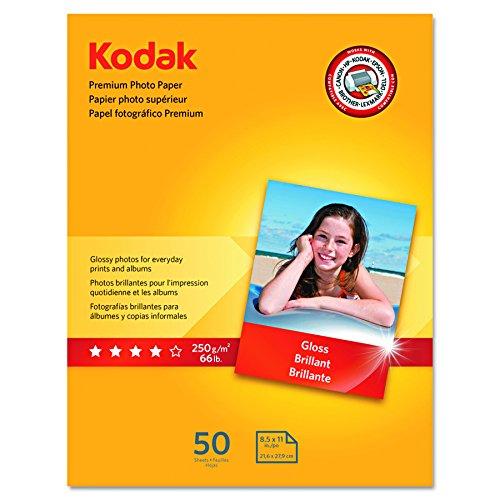 Kodak Premium Photo Paper for inkjet printers Gloss Finish 85 mil thickness 50 Sheets 85 x 11 8360513