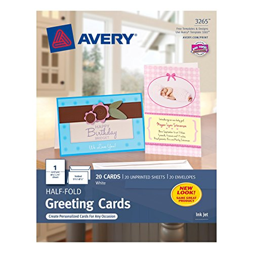 Avery Half-Fold Greeting Cards for Inkjet Printers 55 inches x 85 inches White Matte Pack of 20 03265