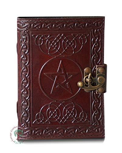 Handmade Leather Journal Celtic Pentagram Embossed Blank Personal Diary Notebook Sketchbook Journal Gift for Unisex 5x7 inch