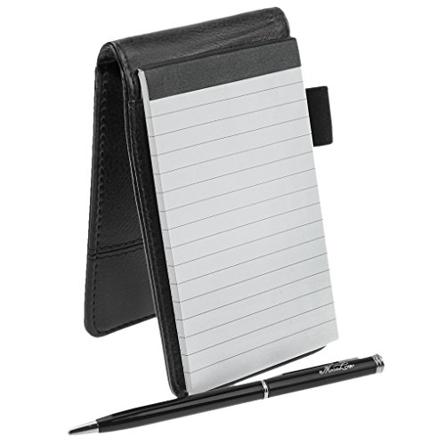 Small Pocket PU Leather Business Notebook Lined Memo Pad Holder Jotter Book Steno Notepad 35-Inch X 55-Inch Note Pad Refillable 8 Digital Calculator Pen Holder Loop Metal Ball Point Pen