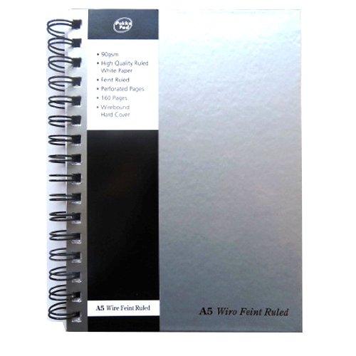 A5 Silver Wirebound Notebook - Pukka Pads - 210mm x 148mm 83 x 58