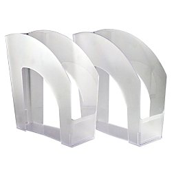 Office Depot Arched Plastic Magazine Files 8 12in x 11in Clear Pack of 4 65281