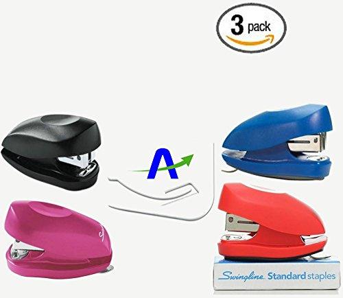 3 Pack Swingline Tot Mini Stapler 12-Sheet Capacity Assorted Colors Includes Staples and Custom AdvantageOP Letter Opener