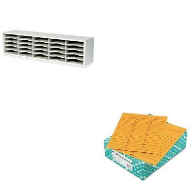 KITQUA63666SAF7751GR - Value Kit - Quality Park Brown Kraft Kraft Redi-Tac Box-Style Interoffice Envelope QUA63666 and Safco E-Z Sort Steel Mail Sorter Module SAF7751GR