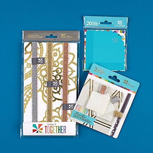 Erin Condren Designer Planner Accessories Bundle - Includes 3 Metallic Pen Holders 3 Metallic Elastic Band Silver Gold Bronze 20 Turquoise Corner Sticky Pockets