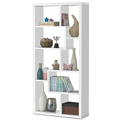 Giantex 8 Cubes Bookcase Ladder Shelf Freestanding Corner Storage Bookshelf 4-Layer Organizer Rack Display Cabinet White