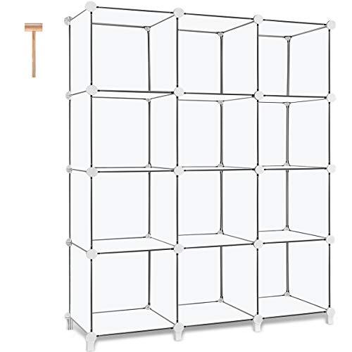 TomCare Cube Storage 12-Cube Book Shelf Storage Shelves Closet Organizer Shelf Cubes Organizer Plastic Bookshelf Bookcase DIY Square Closet Cabinet Shelves for Bedroom Office Living Room White