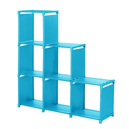 ugKIL 3-Tier Storage Cube Closet Organizing Storage Shelf 6-Cube Cabinet Bookcase Bookshelf 6-Cubes Book Shelf Office Storage Shelf Storage Cabinet Blue