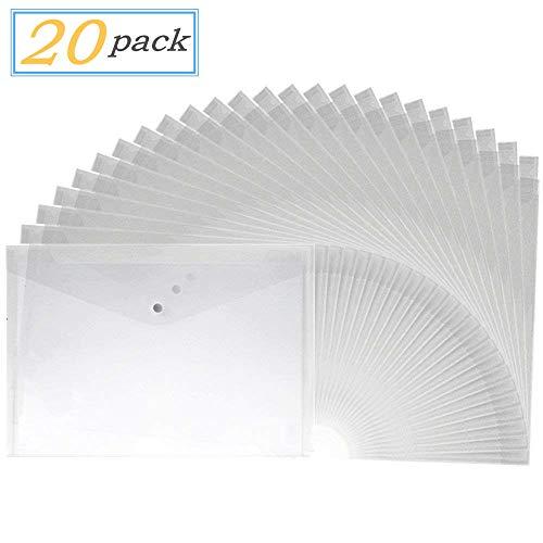 20pcs A4 Letter Size Waterproof Transparent Poly Envelope with Snap Button ClosureProject Envelope FolderWhite