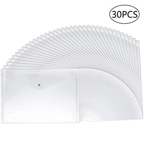 30pcs Plastic Envelopes Clear Reusable Poly Envelope Waterproof File Folder with Snap Button US LetterA4 Size