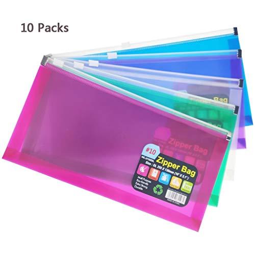 FJCA 10Packs 10 Zipper Plastic Envelopes 5 x 10 Assorted Colors Envelopes Folder for Money Receipts Coupons Bills