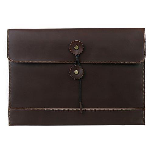 Leathario Leather Envelope Folder Case Portfolio Mens Clutch Portfolio Sleeve Case for MacBook Air 116 inch12 inch Apple Ipad Padfolio File folder A4 document organizer Brown