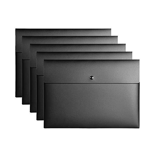 VANRA Poly File Folder Pockets File Jacket Plastic Envelope Flat Document Letter Organizer with Snap Button Closure A4 Letter Size Pack of 5 Black