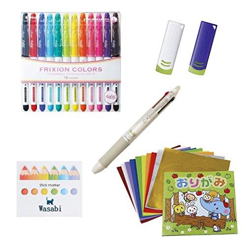 PILOT Frixion  Erasable Marker - 12 Color set Frixion Ball Knock 4-Colorblackredbluegreen Gel Ink Multi-Pen05mm 2 FRIXION Eraser Our Stickynote Japanese Origami  VALUESET