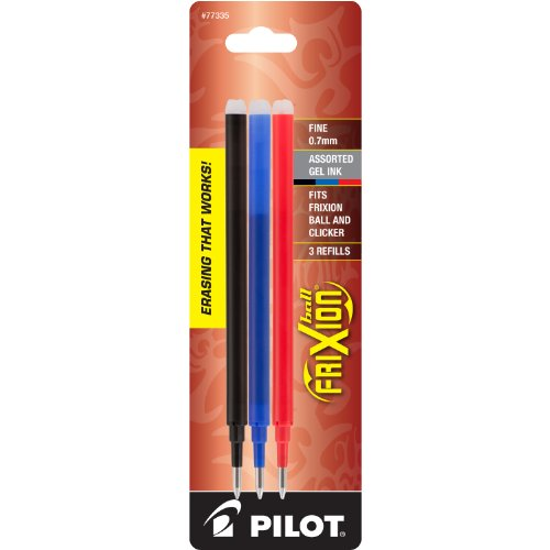 Pilot FriXion Gel Ink Pen Refill 3-Pack for Erasable Pens Fine Point BlackBlueRed Inks 77335