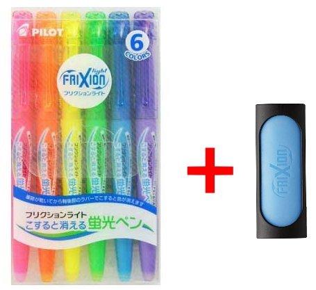Pilot Frixion Erasable Highlighter Pen 6 Colors with Frixion Eraser