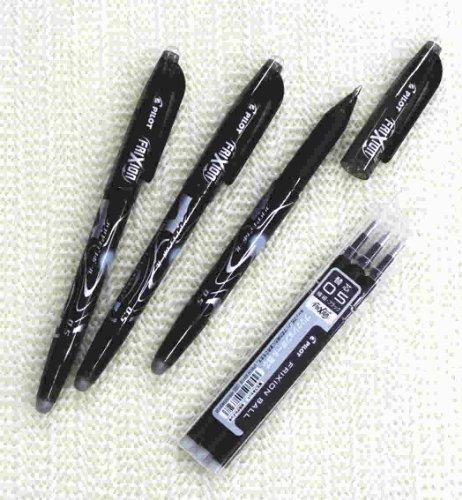 Pilot FriXion Ball Erasable Gel Pens Fine Point -05mm-black Ink-value Set of 3 3 Gel Ink Pen Refill Pack