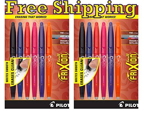 Value Pack of 2 Pilot FriXion Ball Erasable Gel Pens Fine Point Assorted Colors 6-Pack BlackBlueRedPinkOrangePurple FX7C6001 31568