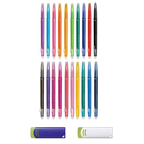 Pilot FriXion Ball Slim Full Color Bundle Set  Erasable Gel Ink Ballpoint Pen All Colour 20 pens  Eraser Light Blue White