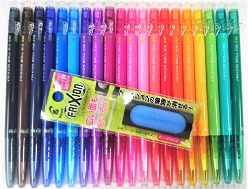 Pilot FriXion Ball Slim Retractable Erasable Gel Ink Pens Extra Fine Point 038 mm 20 Colors FriXion Eraser Light Blue Set with Original Vinyl Pen Case