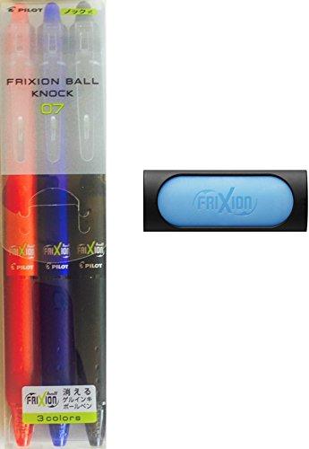 Pilot Frixion Ball Knock 07 Erasable Pen Pack of 3 colors  FriXion Eraser