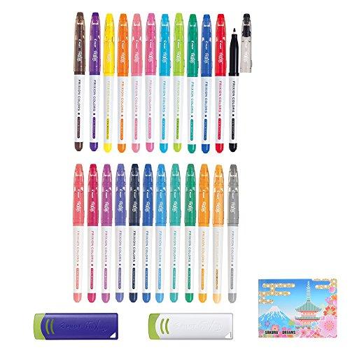 Pilot Frixion COLORS Full Color Bundle Set  Erasable Marker Pen All Colour Range 24 pens  Eraser Light Blue White  Original 5 Colours Sticky Note