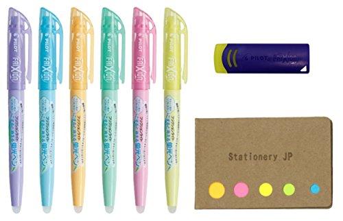 Pilot Frixion Erasable Highlighter Pen 6 Soft Colors Frixion Eraser Sticky Notes Value Set