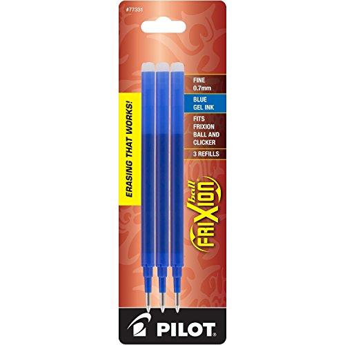2 PACKS Pilot FriXion Gel Ink Pen Refill 3-Pack for Erasable Pens Fine Point Blue Ink 77331