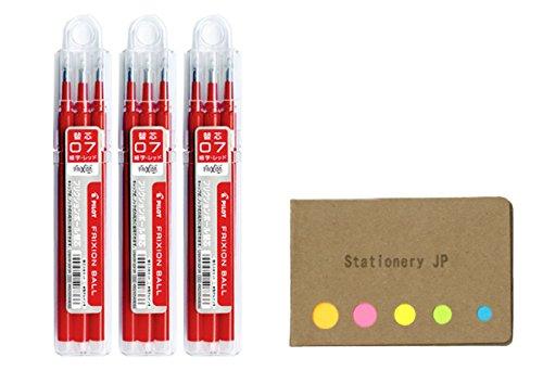 Pilot Gel Ink Refills for FriXion Erasable Gel Ink Pen Fine Point 07mm Red Ink 3-Packs 9 refills total Sticky Notes Value Set