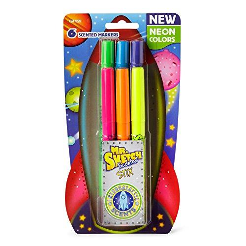 Mr Sketch 1947292 Scented Stix Markers Fine Tip Intergalactic Neon Colors 6-Count