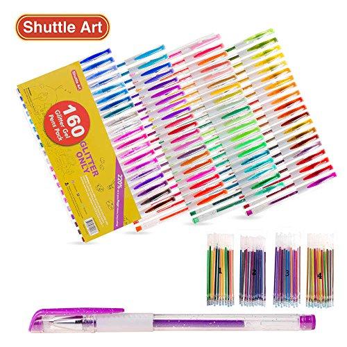 Shuttle Art 160 colors Glitter Gel Pens Set 220 Ink Gel Pen for Adult Coloring Books Art Markers 80 Colored Gel Pens plus 80 Refills