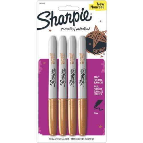 Sharpie 1829200 Metallic Fine Point Permanent Marker Bronze 4-Pack by Sharpie