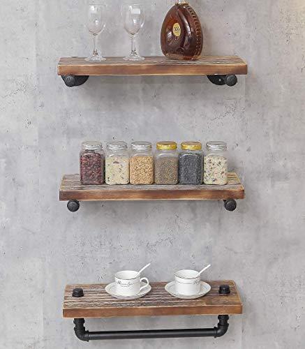 DOFURNILIM 3-Tier Industrial Retro Wall Mounted Iron Water Pipe ShelfBookcaseShelving - Floating Shelf - Hung Bracket - DIY Storage Bookshelf - Height Adjustable Shelf - Wood Shelf