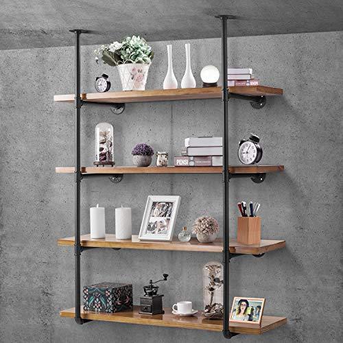 Elibbren Industrial Pipe Shelf Kit Retro Wall Mount Shelving Floating Bracket Iron Pipe Bookshelf DIY Kitchen Office Wall Shelves2 Pcs Hardware Only