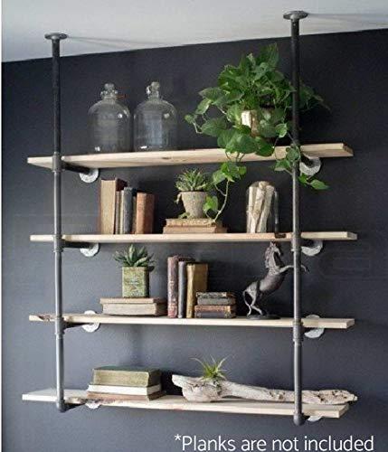 Industrial Retro Wall Mount Iron Pipe Shelf Hung Bracket Diy Storage Shelving Bookshelf 2 pcs