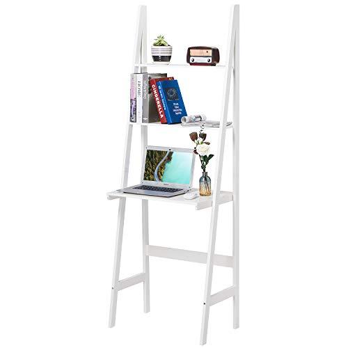 Itaar 3-Tier Ladder Shelf Bookcase Wood Storage Display Shelving Modern Bookshelf Storage Leaning Bookshelf Wooden Frame Decor Flower Shelf Plant Display Shelf for Home Office White