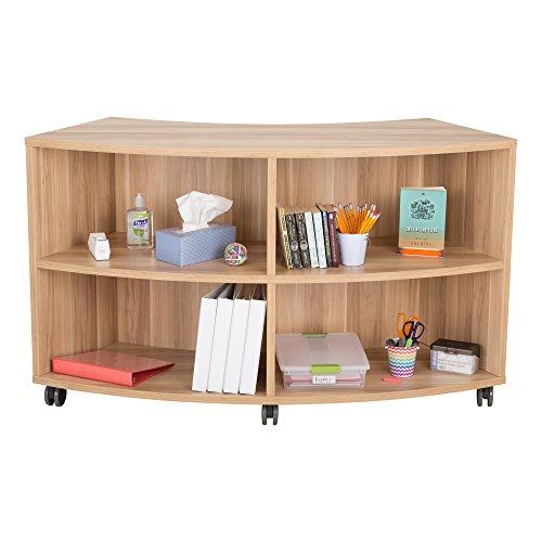 Learniture Curved Mobile ShelvingBookcase Four Openings Dark Natural LNT-AVO3000DM-SO