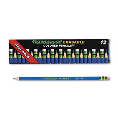 Ticonderoga Erasable Colored Pencils 26 mm Blue LeadBarrel Dozen Sold as 12 Each