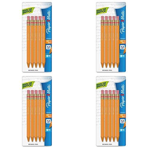 4 PACKS Paper Mate Mates 13mm Mechanical Pencils 5 Yellow Barrel Mechanical Pencils 1862167