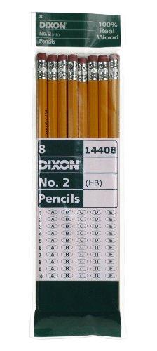 Dixon No 2 Yellow Pencils Wood-Cased Black Core 8-Count 14408