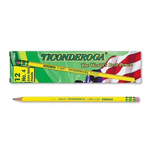 Ticonderoga Yellow Pencil No4 Extra Hard Lead Dozen DIX13884