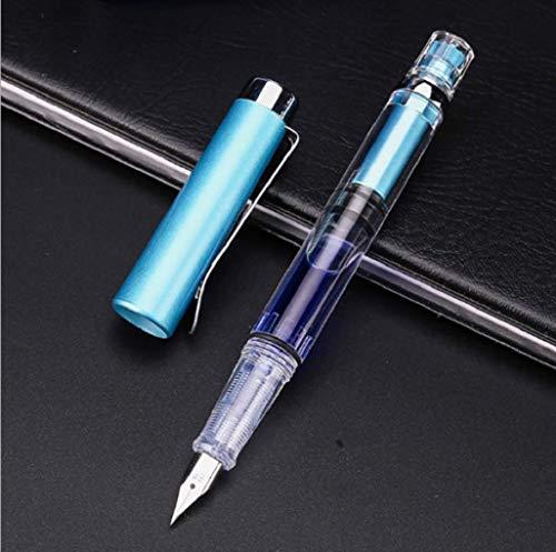 Penbbs 494 Transparent Piston Fountain Pen Clear Demonstrator Ink Pen EF 038mm Nib Sky Blue