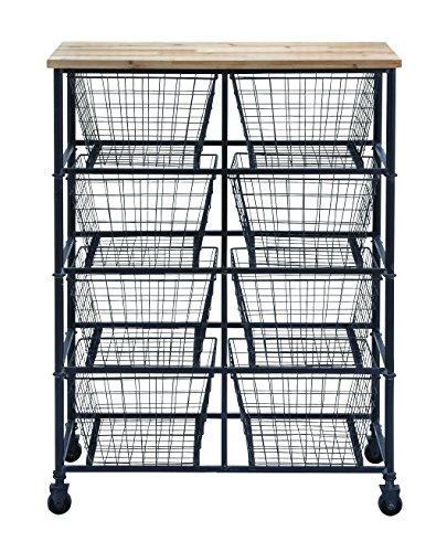 Benzara Metal Wood Storage Mobile Cart 41 by 29-Inch