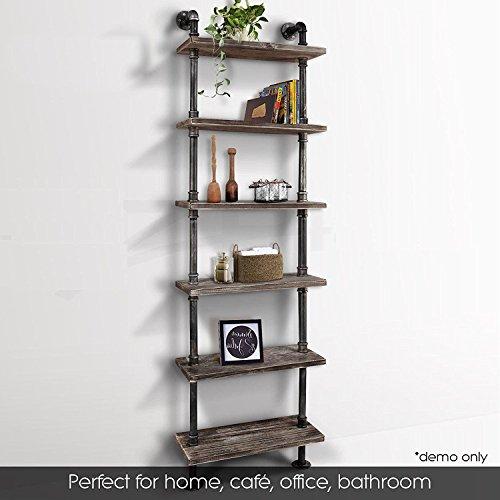 Industrial 6-Tiers Modern Ladder Shelf Bookcase Wood Storage ShelfDisplay Shelving Wall Mounted Wood Shelves Metal Wood Shelves Bookshelf Vintage Wrought Iron Finish