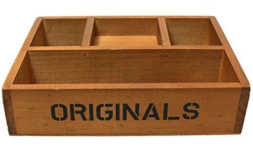 Multi-functional Distressed Vintage Wood Storage Office Supply Desk Organizer - 4 slots