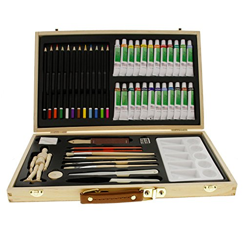 US Art Supply 50-Piece Acrylic Painting Set with Wood Storage Case 24-Tubes Acrylic Colors 12 Colored Pencils 2 Graphite Pencils 4 Artist Brushes 55 Manikin Palette Knives Eraser Pencil Sharpener Plastic Palette with 10 Wells-Great Student Art