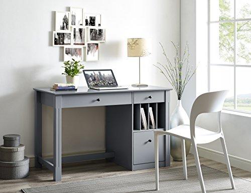 WE Furniture Home Office Deluxe Wood Storage Computer Desk - Grey