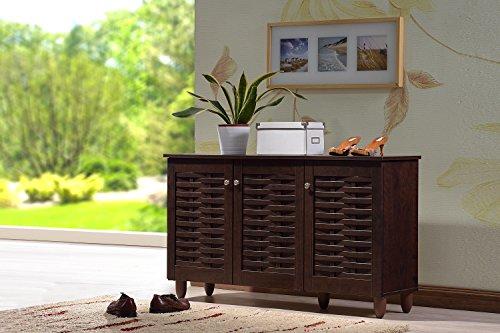 Wholesale Interiors Baxton Studio Winda Modern and Contemporary 3-Door Dark Brown Wooden Entryway Shoes Storage Cabinet