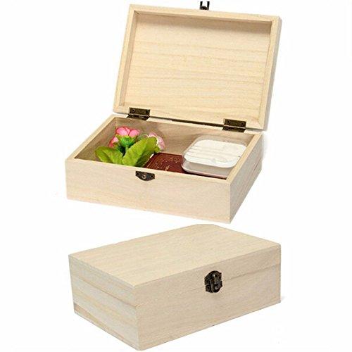 Wooden Storage Box with Lid Postcard Organizer Handmade Jewelry Case