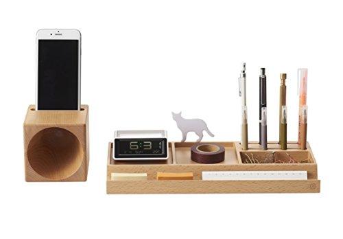 ZENS Wooden Space Saving Desk Office Supplies Organizers Beech Wood Storage Expandable Phone Speaker Pencil Holder